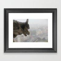 Gargoyle Over Paris Framed Art Print