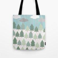 Pacific Northwest Tree and Rain Scene - Portland, PDX, Seattle, Washington, Oregon Tote Bag