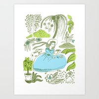 Reading In The Garden Art Print