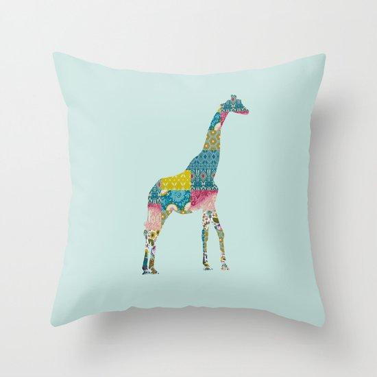 Patchwork Giraffe Throw Pillow