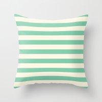 Mint Green Stripes  Throw Pillow