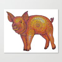 Patterned Piglet Canvas Print