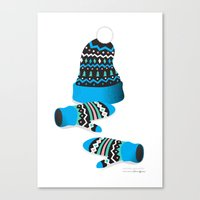 Knitted Geometry, Blue Canvas Print