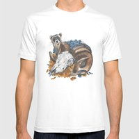 ferret and skull Mens Fitted Tee White SMALL