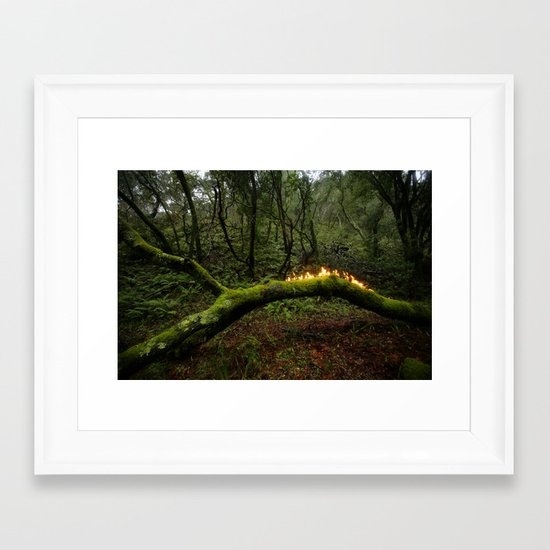 Forest Mystery Fire Framed Art Print