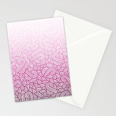 Gradient pink and white swirls doodles Stationery Cards