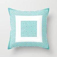 Greek Key turquoise Throw Pillow