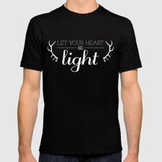 Let Your Heart Be Light SMALL Black Mens Fitted Tee