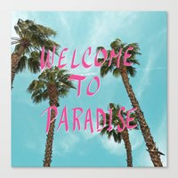 Welcome To Paradise - Pink Canvas Print