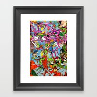 he's stacking pink nickels! Framed Art Print