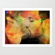 Art Print featuring Gay Kiss by Mark Ashkenazi