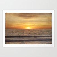 California Sunset Over Ocean Art Print