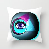 Halftone Eyeball Throw Pillow