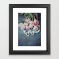 Framed Art Print featuring Tulips And Pearls by Maria Heyens