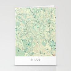 Milan Map Blue Vintage Stationery Cards