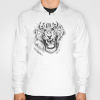 Tiger Drawing Black and White Animals Hoody