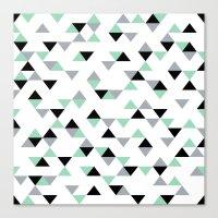 Triangles Mint Grey Canvas Print
