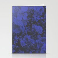 Blue Floral Halftone Pattern Stationery Cards