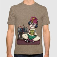 Stereo girl listening to Records Mens Fitted Tee Tri-Coffee SMALL