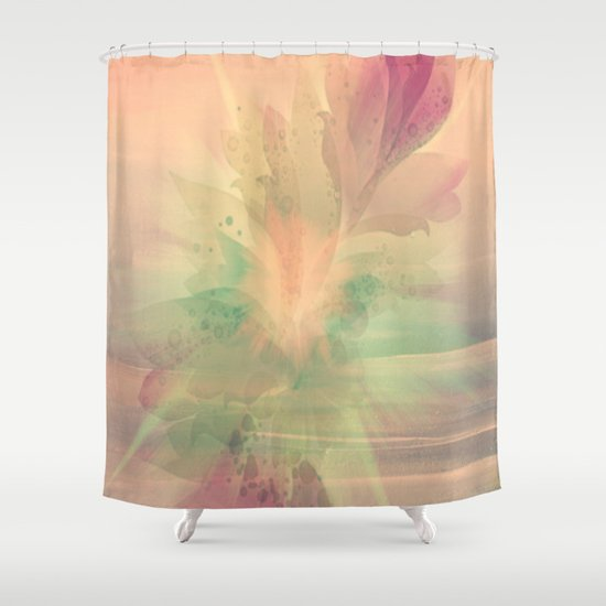 peach pastel color burst abstract shower curtain by judy