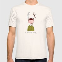 One real antler, one imagined Mens Fitted Tee Natural SMALL