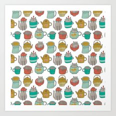 Pattern Project #5 / Cats and Pots Art Print