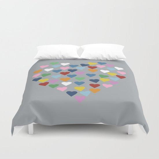 Hearts Heart Multi Grey Duvet Cover
