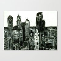 Black and White Philly Skyline Canvas Print