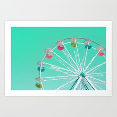 Minty Ferris Wheel Of Ha… Art Print