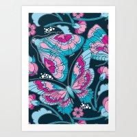 Blue Art Nouveau Butterf… Art Print