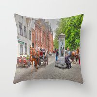 Horse & Cart In Brugge  Throw Pillow