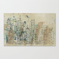 Sketch Of Buildings In A… Canvas Print