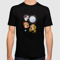 3 DUDE MOON Mens Fitted Tee Black SMALL