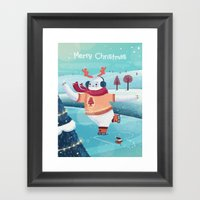 Merry Christmas with Yeti Framed Art Print