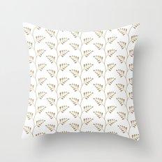 Tan Ferns Throw Pillow