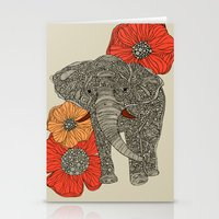 elephants Stationery Cards featuring The Elephant by Valentina Harper