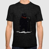 Bear On Snowboard Mens Fitted Tee Tri-Black SMALL