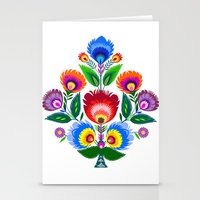 colorful folk flowers Stationery Cards