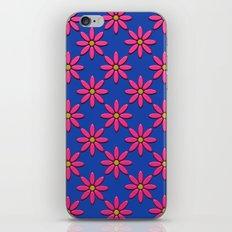 Pink Flowers on Blue Field iPhone & iPod Skin