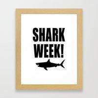 Shark week (on white) Framed Art Print