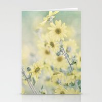 Pastel Wildflowers Yellow Helianthus Daisies -- Botanical Landscape Stationery Cards