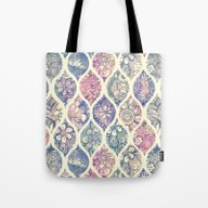 Patterned & Painted Flor… Tote Bag