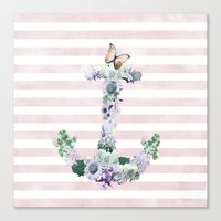 FLORAL ANCHOR IN PINK Canvas Print