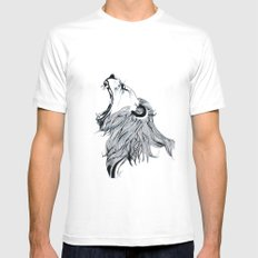 Growling Lion  White Mens Fitted Tee SMALL