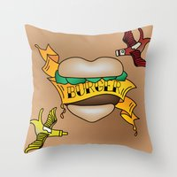 Burger Tattoo Throw Pillow