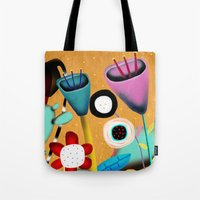 Orange and Green Whimsical Floral  Tote Bag