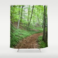 Into The Woods - Woodland Spring Path Shower Curtain