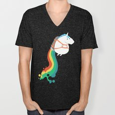 Fat Unicorn On Rainbow J… Unisex V-Neck