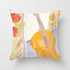 Violin and Roses Throw Pillow