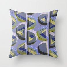 Blue Lino and Digital Pattern Print Throw Pillow